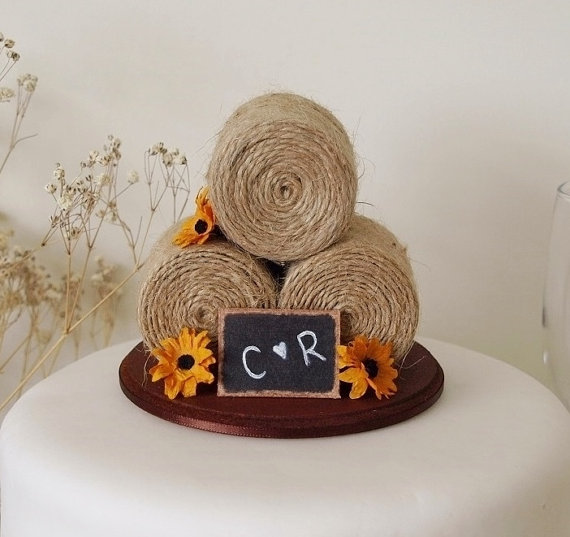 sunflower hay bale cake topper by TiaLovesArchie | barn reception ideas for weddings via https://emmalinebride.com/reception/barn-ideas-weddings/ ‎