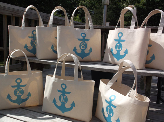 anchor tote bags nautical | How to Plan the Best Beach Bachelorette Party | http://emmalinebride.com/how-to/plan-beach-bachelorette-party