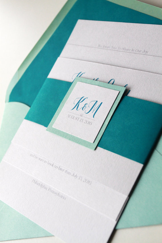 aqua and teal wedding invitations by goldensilhouette // 50+ Best Wedding Invitations // via http://bit.ly/2yB6Ful
