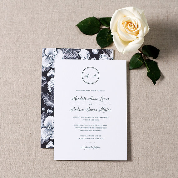 black and white elegant wedding invitations