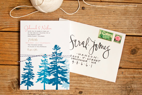 blue woodsy wedding invitations pine trees