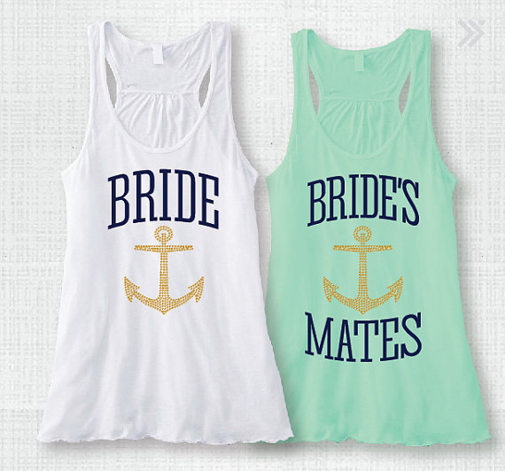 bride and brides mates tank tops