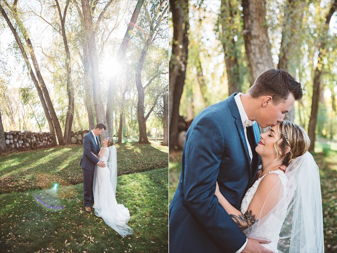 brideandgroomkiss Bohemian Colorado Wedding with pink, gold, and blue | http://www.emmalinebride.com/real-weddings/bohemian-wedding-full-of-love-in-colorado/ | photo: Shutterfreek