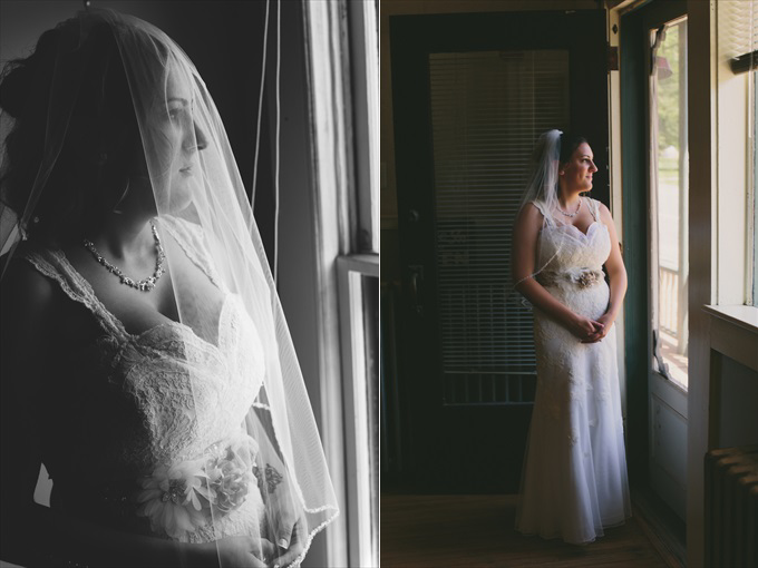 bride standing in front of window - Rustic Barn Wedding in the Catskill Mountains | https://emmalinebride.com/real-weddings/rustic-barn-wedding-catskill-mountains/ | photo: Stephanie Naru Photography