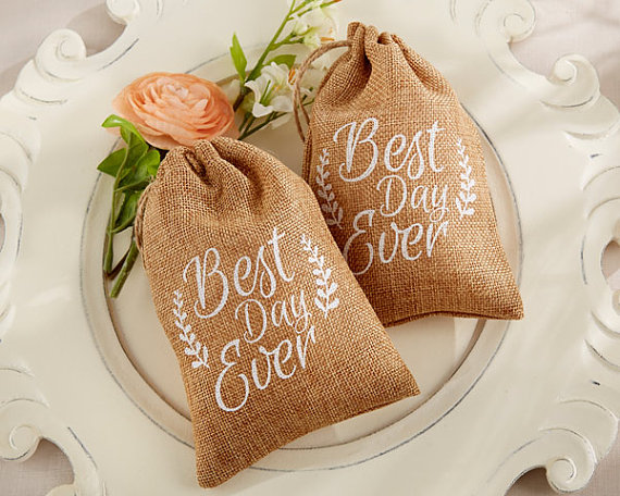 burlap best day ever favor bags by yacanna | Top 10 Burlap Ideas for Spring & Summer Weddings http://emmalinebride.com/rustic/burlap-ideas-weddings/