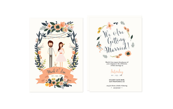couple potrait wedding invitations
