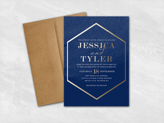 geometric faux gold wedding invitations