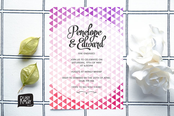 geometric modern wedding invitation by rubymaydesign
