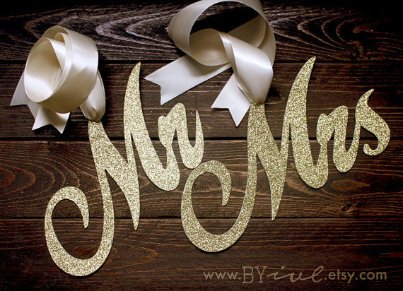 glitter mr and mrs chair signs