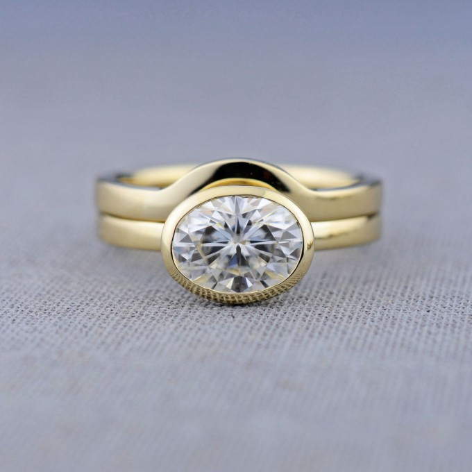 gold engagement ring with wedding band fit