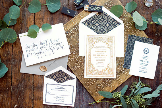 gold foil letterpress wedding invitations
