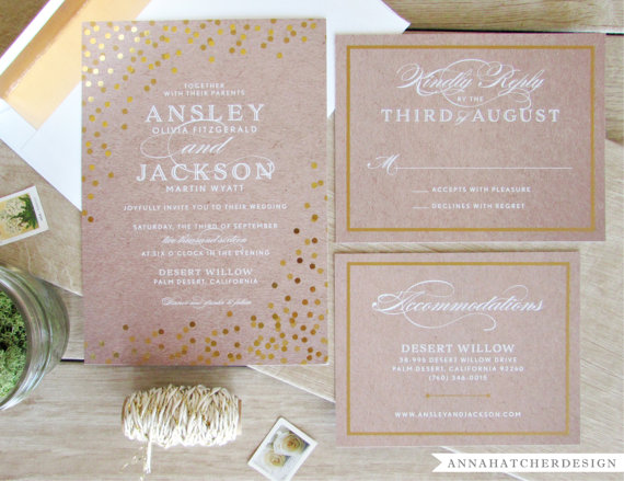 gold foil polka dot wedding invitations by annahatcherdesign