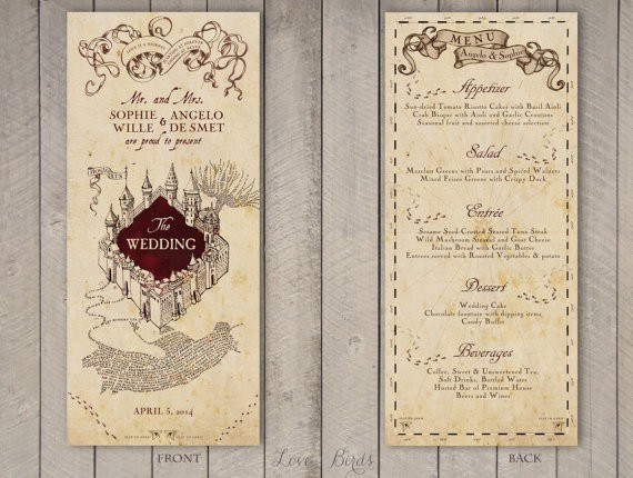 harry potter wedding menu by sophieslovebirds