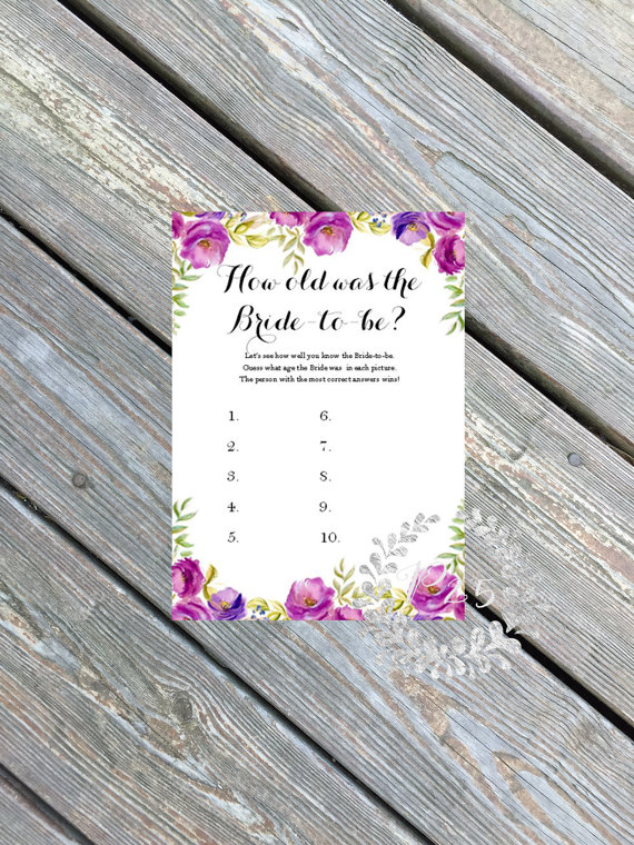 how old was the bride to be | printable bridal shower games | petite25 studios | http://emmalinebride.com/bridal-shower/games-printable/
