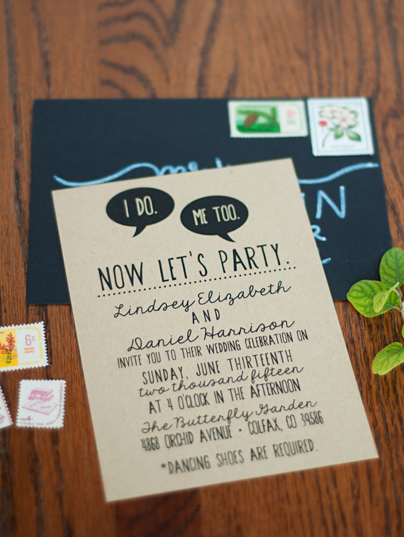 i do me too lets party wedding invitations quirky