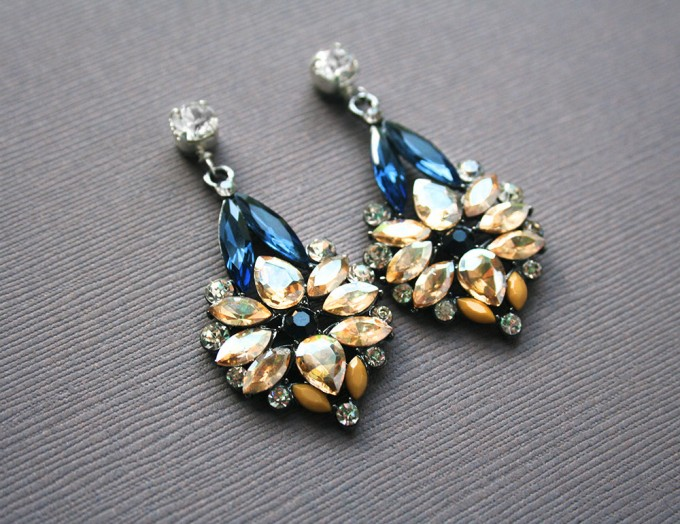 luxe blue earrings