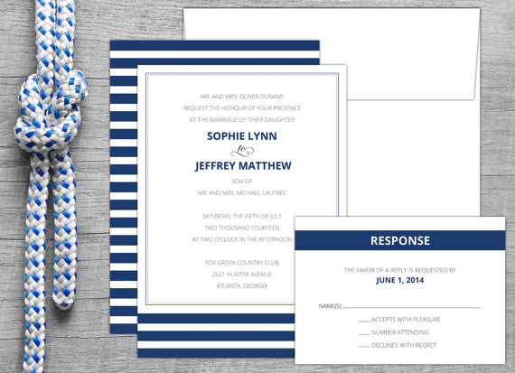 nautical stripe wedding invitations