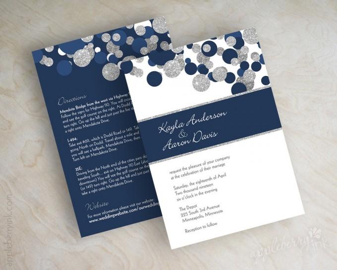 navy blue glitter silver