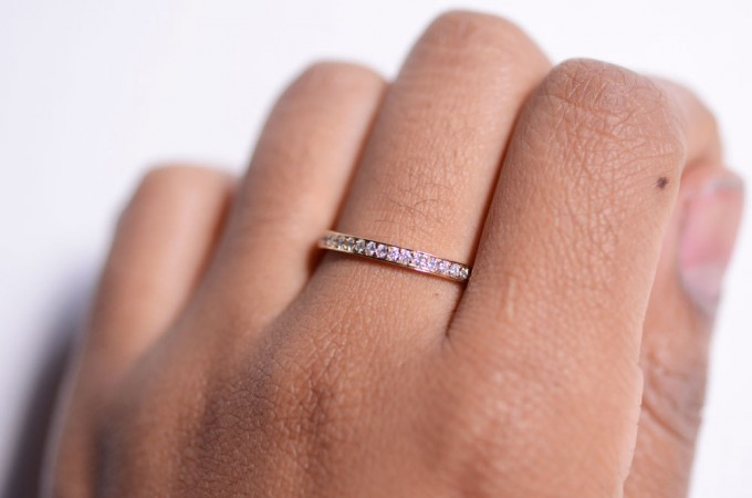 pave diamond ring on hand