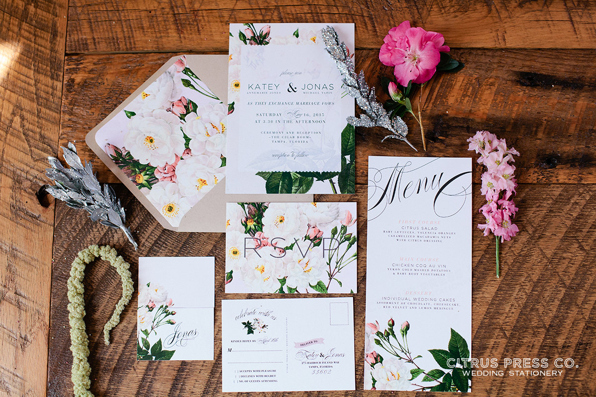 spring botanical rose wedding invitations | 6 Floral Botanical Invitations for Spring Weddings http://wp.me/p1g0if-yOx by Citrus Press Co.