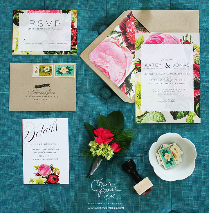 spring botanical wedding invitations | 6 Floral Botanical Invitations for Spring Weddings http://wp.me/p1g0if-yOx by Citrus Press Co.