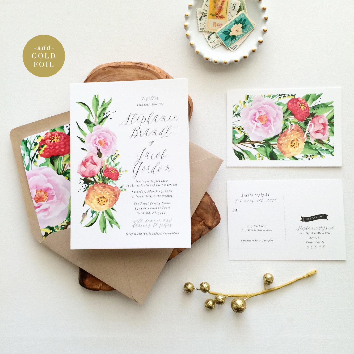 spring watercolor botanical wedding invitations | 6 Floral Botanical Invitations for Spring Weddings http://wp.me/p1g0if-yOx by Citrus Press Co.