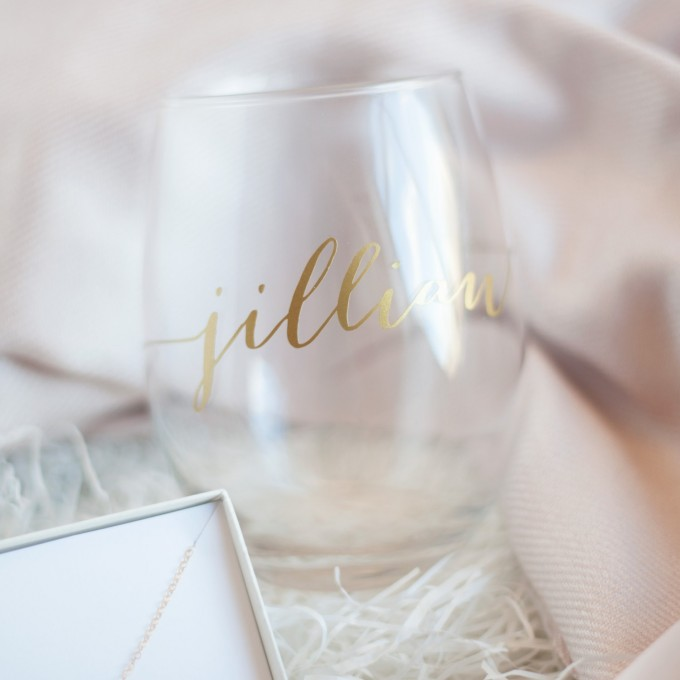 stemless wine glass in Bridesmaid Gift Box | by Deighan Design | http://emmalinebride.com/gifts/bridesmaid-gift-box/