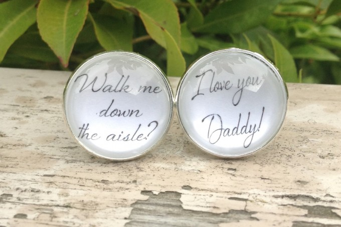 Walk Me Down the Aisle Cuff Links for Father of the Bride | by Over The Moon Bridal | http://emmalinebride.com/gifts/of-all-the-walks-cufflinks-dad/