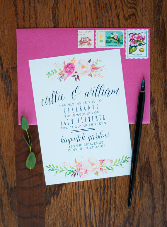 watercolor boho wedding invitation suite