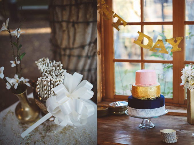 weddingcakeandstraws Bohemian Colorado Wedding with pink, gold, and blue | http://www.emmalinebride.com/real-weddings/bohemian-wedding-full-of-love-in-colorado/ | photo: Shutterfreek