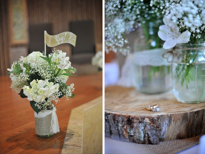 weddingflowercenterpiecesmasonjarswood Rustic Chic Wedding in the Massachusetts | https://emmalinebride.com/real-weddings/rustic-chic-wedding/ | photo: Laura Wagner Photography