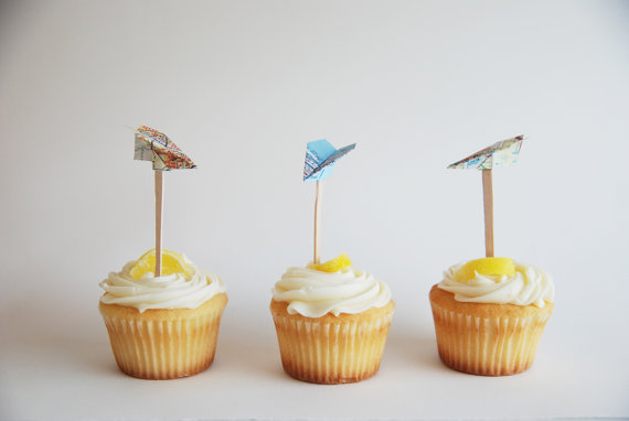 airplane map cupcake toppers by grannypantydesigns