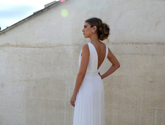back of v neck wedding dress with embroidery