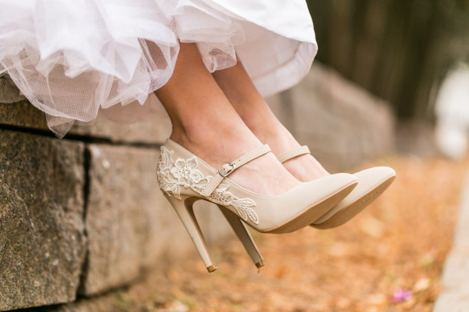 beige lace wedding shoes maryjanes - photo 2