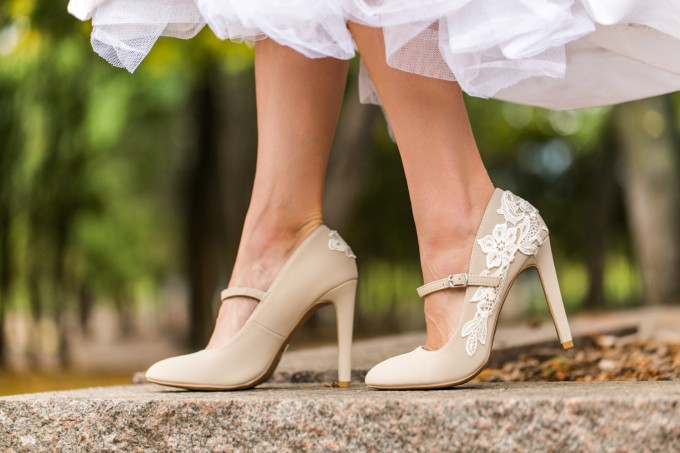 beige lace wedding shoes maryjanes - photo 3
