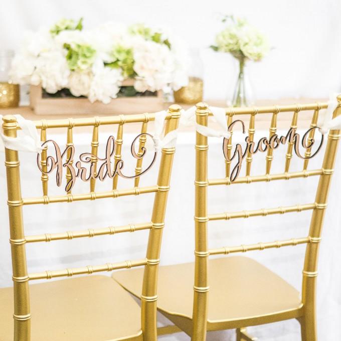 bride groom wedding chair signs on chiavari chairs