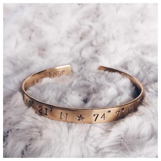 coordinates bangle bracelet | travel themed wedding ideas: http://emmalinebride.com/themes/travel-theme-wedding-ideas/