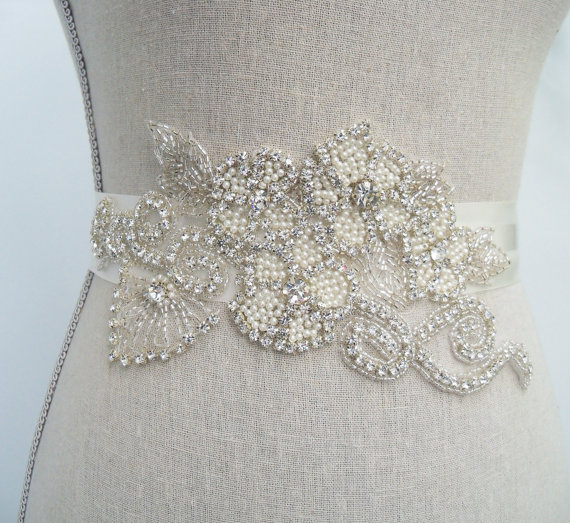crystal bridal belt with applique by SparkleSMBridal | via Should I Add a Sash to My Dress? on Emmaline Bride | https://emmalinebride.com/bride/should-i-add-sash-to-wedding-dress/