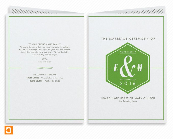geometric hexagon ceremony program