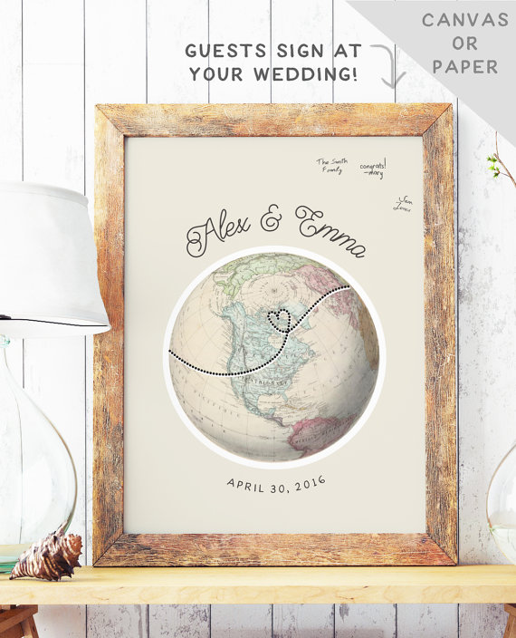 globe guest book alternative by missdesignberryinc