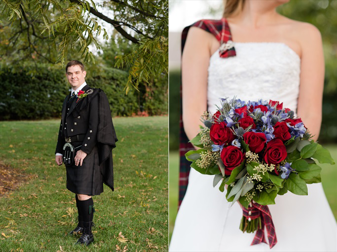 groomandbridewithflowers North Carolina Scottish Wedding | http://www.emmalinebride.com/real-weddings/north-carolina-scottish-wedding/ | photo: Michelle Robinson Photography - North Carolina Wedding Photographer