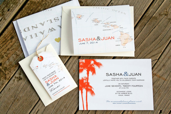 hawaiian island travel theme wedding invitations | travel themed wedding ideas: https://emmalinebride.com/themes/travel-theme-wedding-ideas/