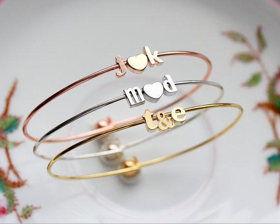 initials bangle bracelet