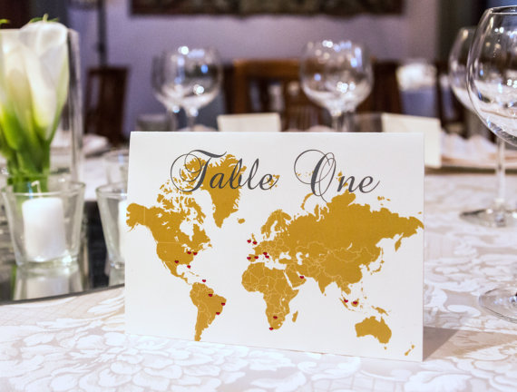map of the world table number | travel themed wedding ideas: http://emmalinebride.com/themes/travel-theme-wedding-ideas/