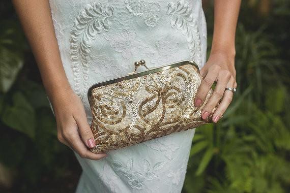 metallic antique gold sequins clutch
