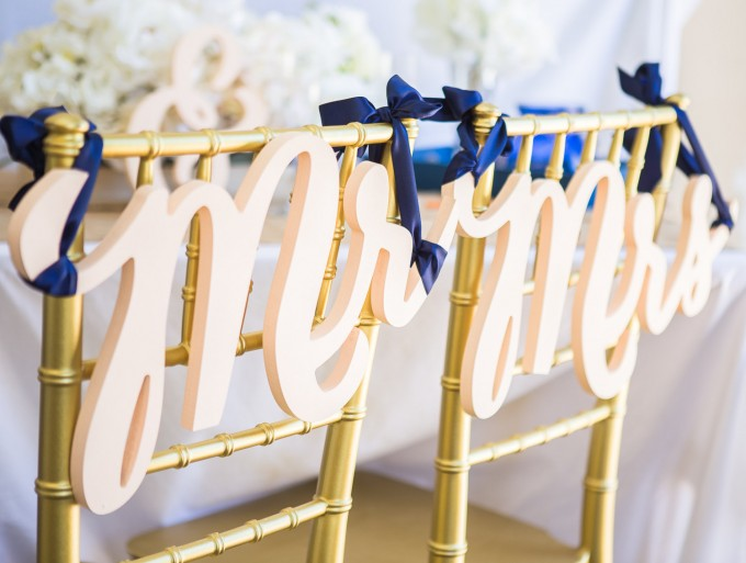 mr & mrs script | chair signs for bride and groom | by zcreate design | https://emmalinebride.com/reception/chair-signs-for-bride-and-groom/