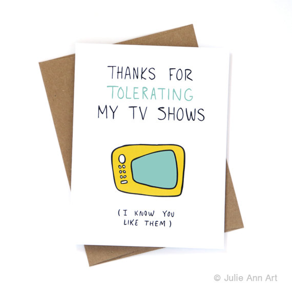 my tv shows card | 75 Best Valentine's Gifts They'll Actually Want | http://emmalinebride.com/gifts/unique-valentines-day-gifts/