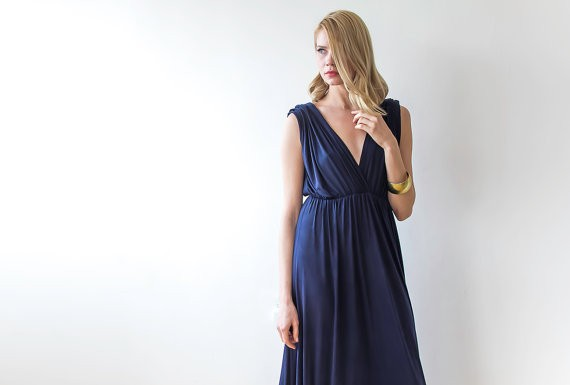 navy blue bridesmaid dress by blushfashion