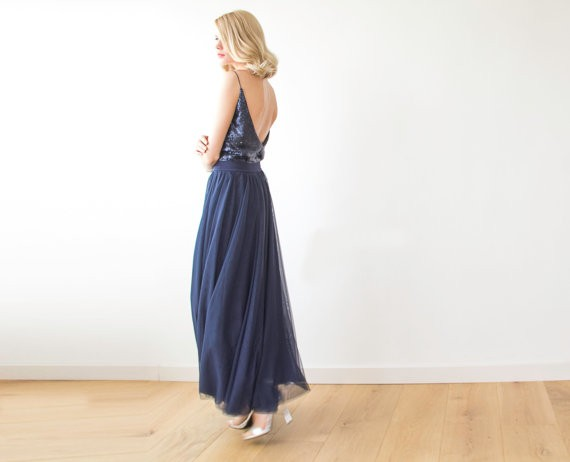 navy maxi dress by blush