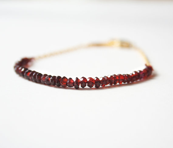 red garnet bracelet valentines day gifts by laurastark | 75 Best Valentine's Gifts They'll Actually Want | http://emmalinebride.com/gifts/unique-valentines-day-gifts/